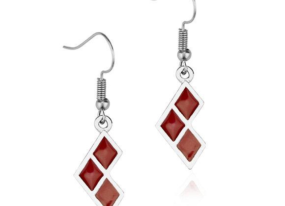 Harley Quinn Red Diamond Design Drop Earrings