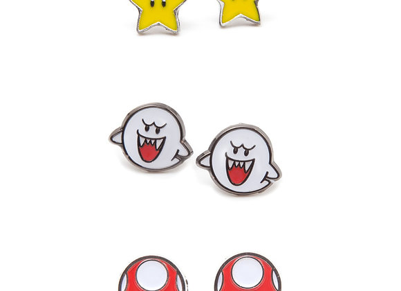 Super Mario Bros Metal Stud Earrings Set - Boo, Super Star and Mushroom