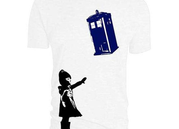 Doctor Who Banksy Inspired Little Girl with Tardis Official T-Shirt