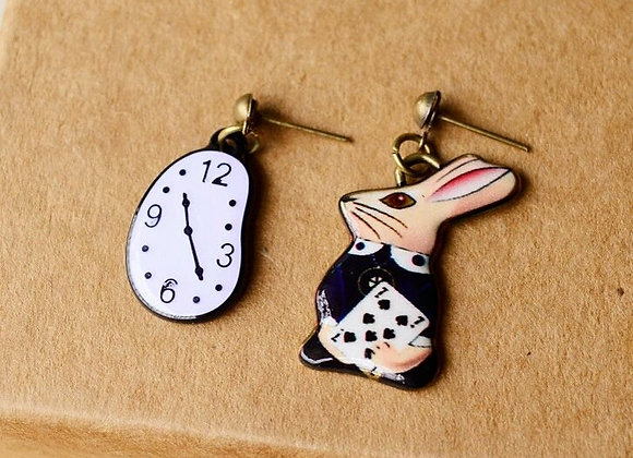 Kitsch 'No Time To Be Late' Rabbit & Clock Earrings