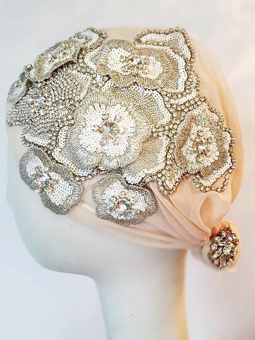 Hazel Embellished Rhinestone Juliet Cap Headpiece