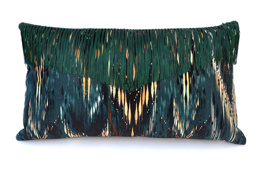 THEA velvet cushion in PALM GREEN