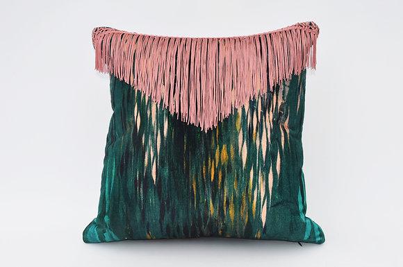 BIBI velvet cushion in PEACOCK GREEN