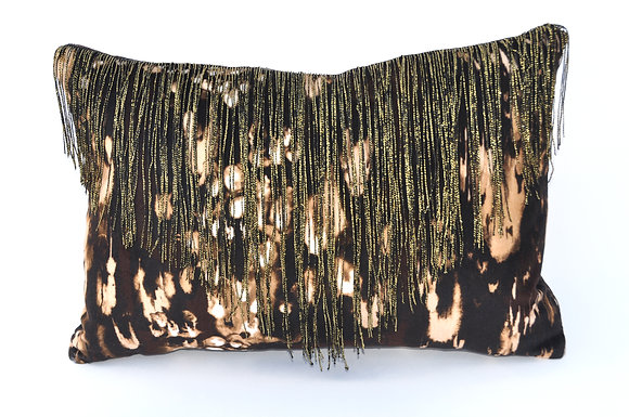 COLETTE velvet cushion in LEOPARD BLACK