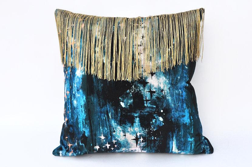 BARDOT velvet cushion in ELECTRIC BLUE