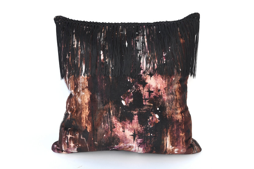 BARDOT velvet cushion in MIDNIGHT BLACK