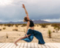 Yoga pose in Joshua Tree desert