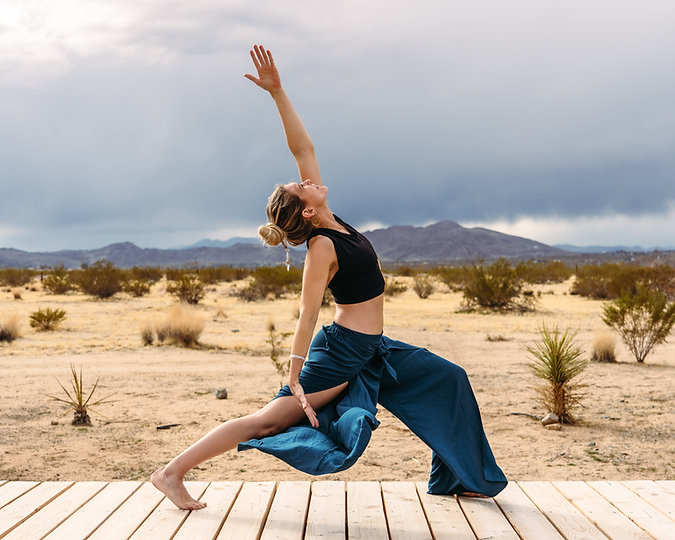 Yoga pose in Joshua Tree desert