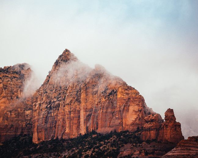 Foggy Sedona Mountains