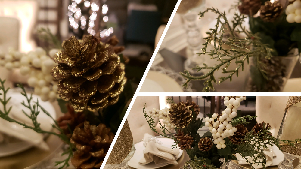 Quick holiday centerpiece with pine cones
