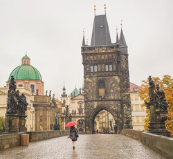 When we arrived in Prague on the train it was raining & foggy. When we left Prague it was raining &