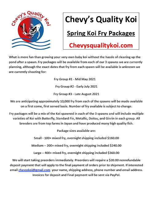 2021 SPRING FRY PACKAGES