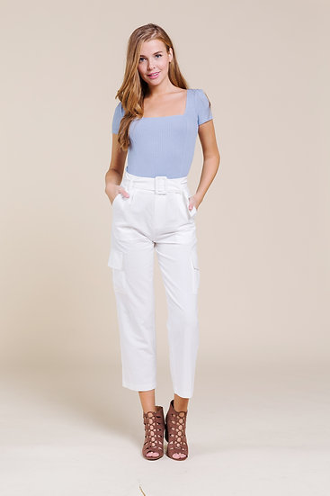 Miss Love Belted Cargo White
