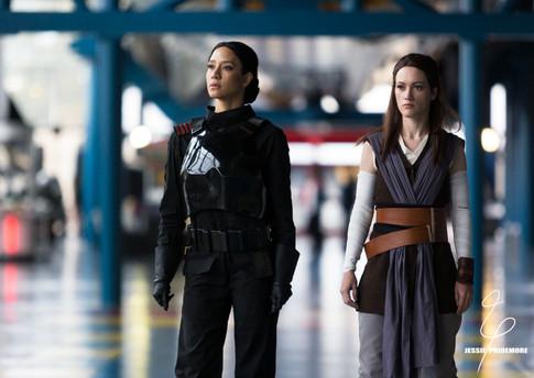 "Jessie filming EA/Nerdist's series ""Jedi vs. Sith"" as Rey.   Photo by Haley Hays"