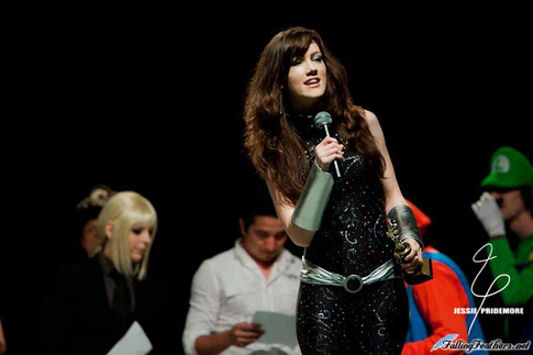 Jessie presenting awards at Oni-con dressed as Donna Troy  Photo by AngelWings Photography
