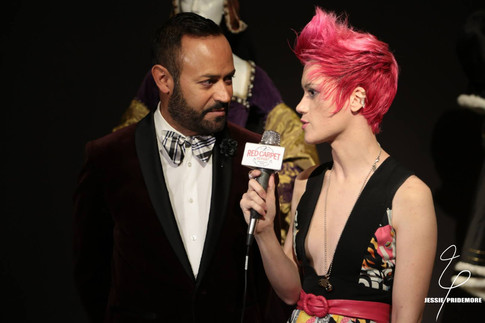 Jessie interviewing Nick Verreos for FIDM's Emmy's event  Photo by Red Carpet Review