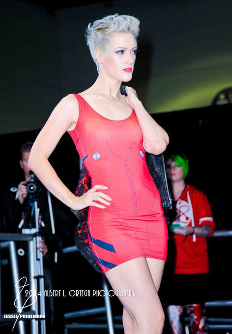 Jessie on the runway modeling for Gold Bubble Clothing at SLCC.  Photo by Al Ortega