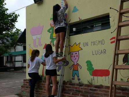Nuestro primer mural, una verdadera obra
