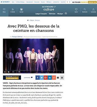 Article du site Le Figaro PMQ l'élégance voQale au Théâtre des deux Ânes à Paris février 2019