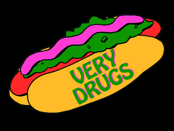very drugs hotdog logo.png