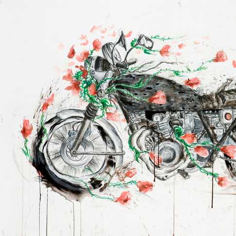 Motorcycle with Roses