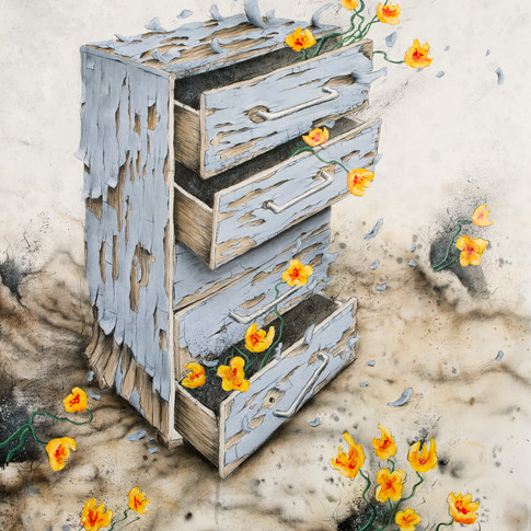 Dresser with Poppies