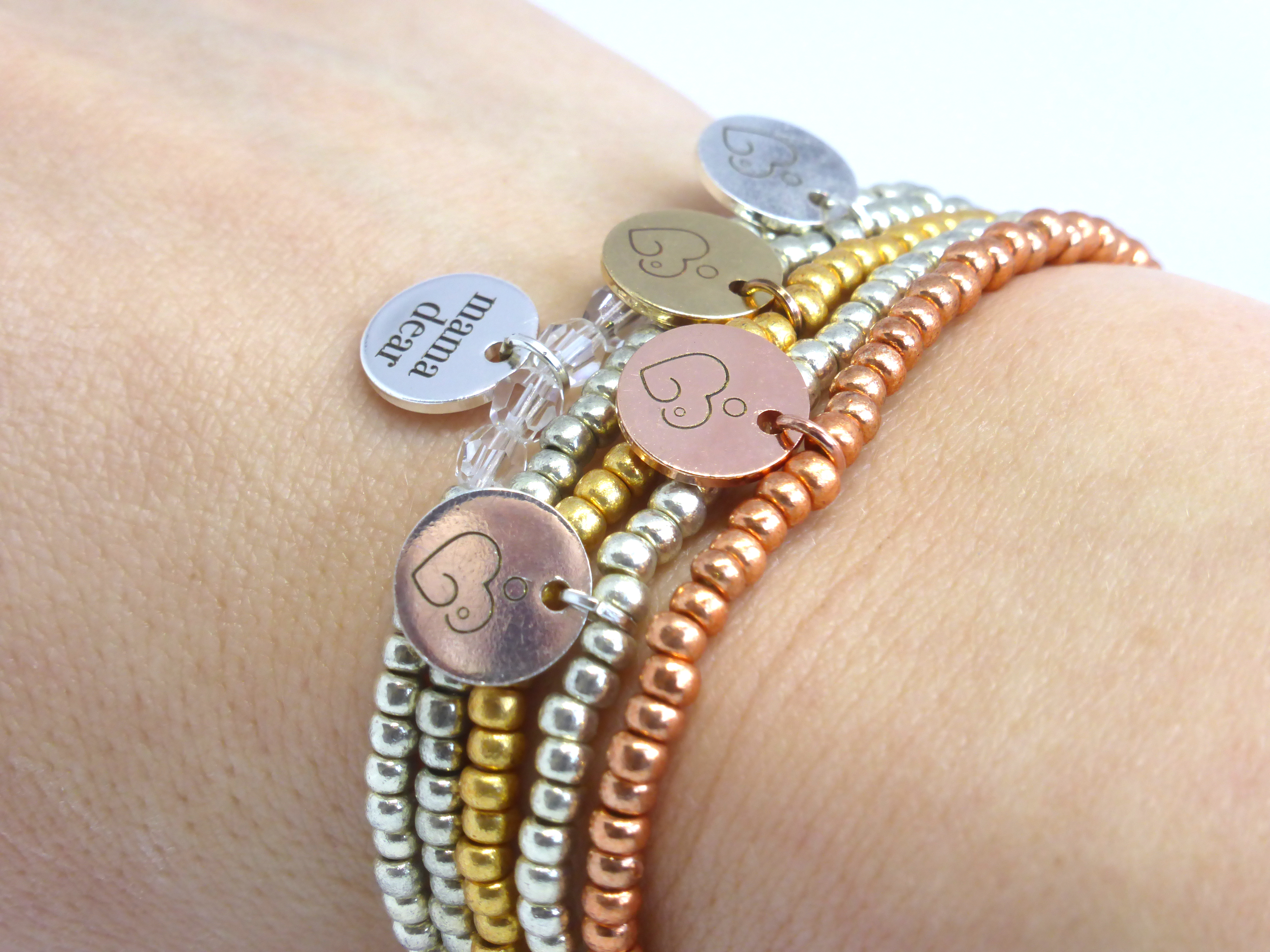 Stack of breastfeeding bracelets