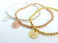 Set of 3 metal beaded bracelets