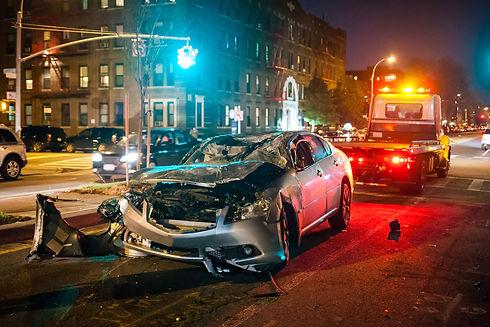 Car crash night city rescue emergency se