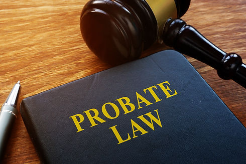 Probate Law book and wooden gavel in the