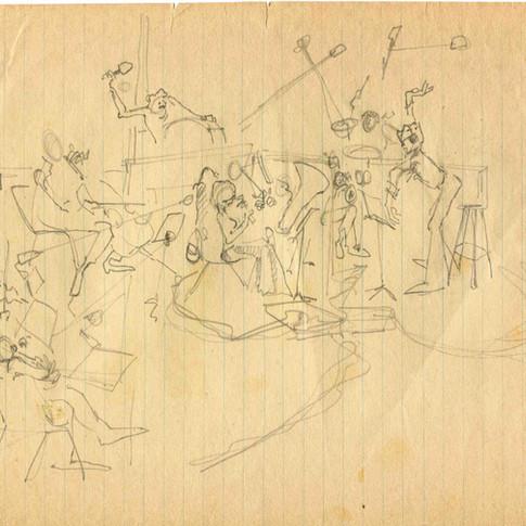 Lothar Klein recording session 1974 pencil sketch by Dino  Kotopoulis