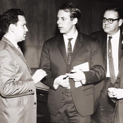 Lothar Klein, Karl-Heinz Stockhausen, Clifton Williams, Luis Herrera de la Fuente (conductor, National Symphony of Mexico) in Mexico City, 1964)