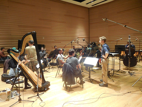 David Bloom conducts Contemporaneous for recording of Eric Klein's Myth of Tomorrow, Dimenna Center, NYC