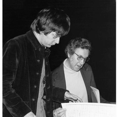 Conductor Sir Andrew Davis, Lothar Klein - Toronto Symphony premier of Musica Antiqua, 1976.  photo: M.J. (Slim) Bent