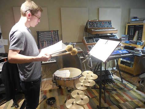 Percussionist Sean Statser recording parts for Myth of Tomorrow album