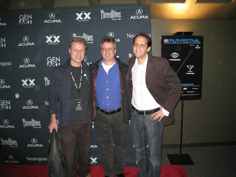 Actor/comedian Henry Phillips, Eric Klein, and director Gregori Viens at Punching the Clown debut, NYC