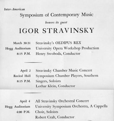 Stravinsky Symposium concert program, Au