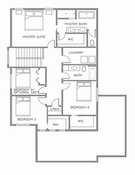 Fargo ND Home Builder High End Residential Floor Plan for Parks Two Story 2 Story Farmhouse All Bedrooms Upstairs