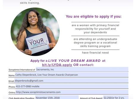 Apply by 11/15 - Soroptimist Live Your Dream: Education & Training Awards for Women