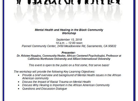Mental Health and Healing in the Black Community Workshop on September 15