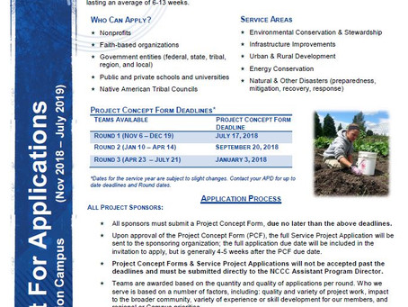 AmeriCorps NCCC Pacific Region - Now Accepting Project Applications for Round 2!