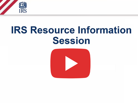 IRS Resource Info Session - Recording Available