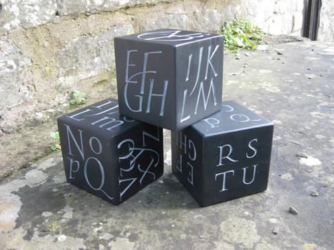Welsh Slate alphabet cubes