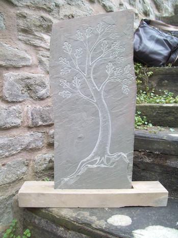 Tree carved in Tredomen stone