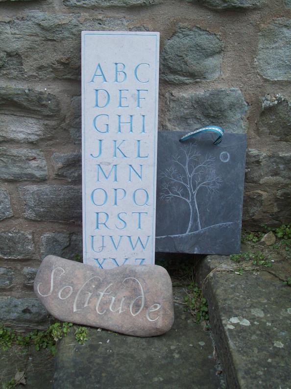 Portland Alphabet, pebble and slate