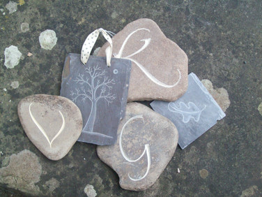 Pebbles and Slate carvings
