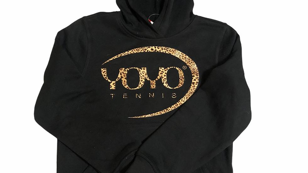 YOYO-TENNIS HOODY BLACK/LEOPARD JUNIOR