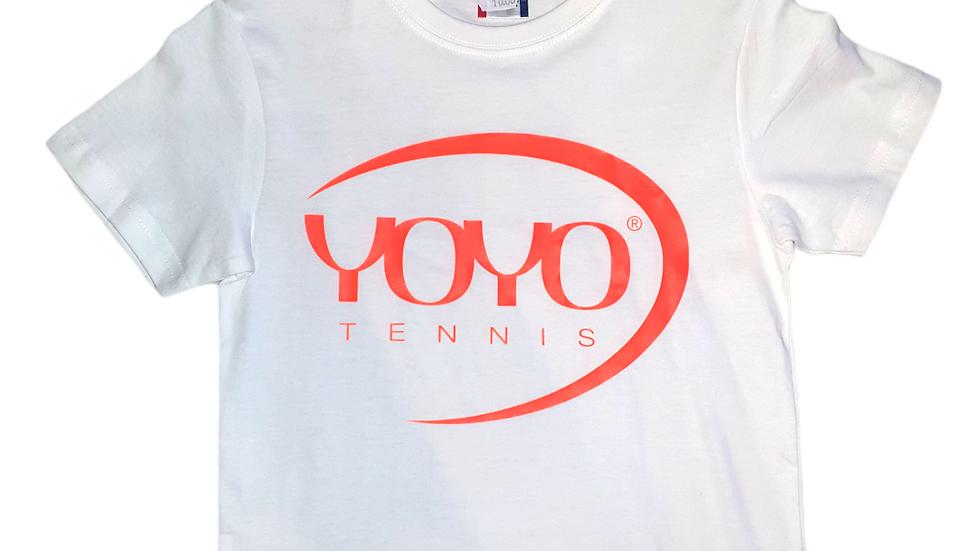 YOYO-TENNIS T-SHIRT WHITE/ORANGE JUNIOR