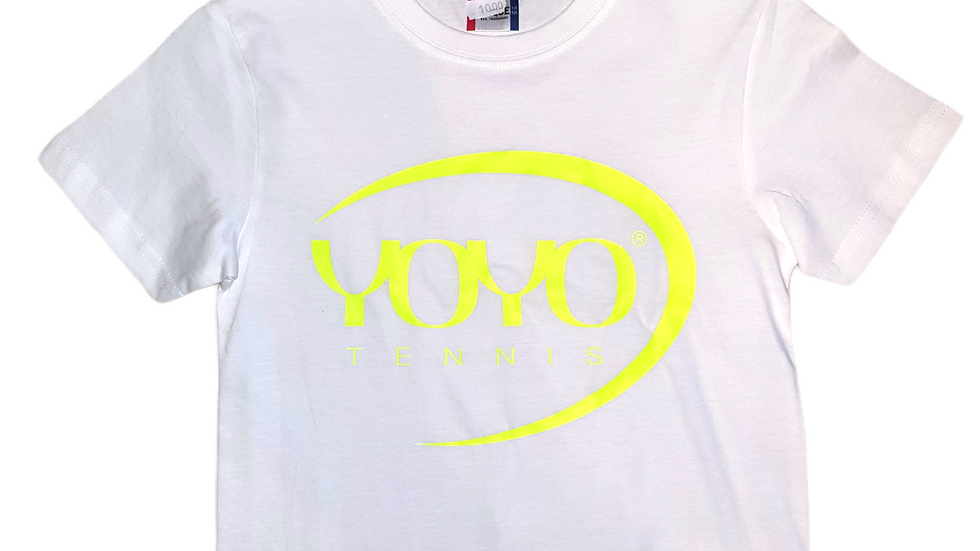 YOYO-TENNIS T-SHIRT WHITE/YELLOW JUNIOR