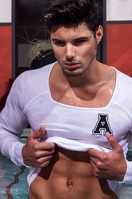 Allan Vos menswear sportswear glitter sequins underwear show collection